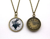 Alice in Wonderland, White Rabbit Silhouette, Double-Sided Clock Necklace