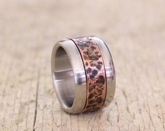 Rustic Men Ring, Copper Band, Copper andTitanium,  Men Ring
