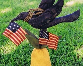 Primitive Folk Art Americana Crow and Pinepple E Pattern
