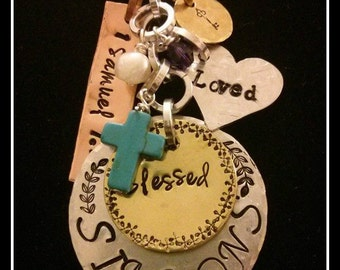 Blessed Family, hand stamped metal necklace