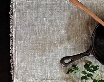 Rustic Linen Placemats (6), Eco friendly linen placemats, Flax Placemats, Grey linen placemats, Organic placemats