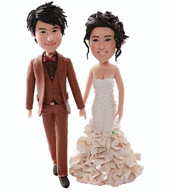 personalized wedding cake toppers figurines personalized wedding cake topper custom bobble clay 6488