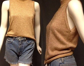 vintage 1980's LAMBSWOOL metallic gold pullover sweater vest, women's small