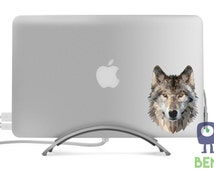 Geometric Wolf Decal - Artistic Full Color Modern Impressionist Painted Style Decal -Fits MacBooks, Laptops, Cars - Indoor or Outdoor Use