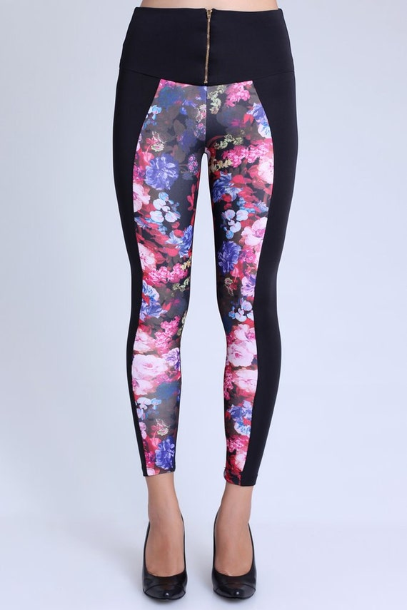 Items similar to Black Leggings with flowered pattern ...