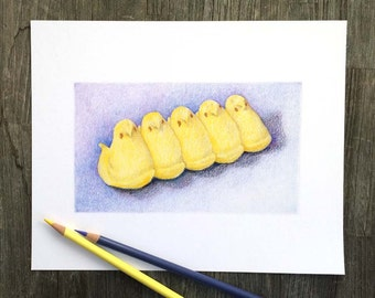 Marshmallow Peeps - Easter - Archival print of my colored pencil drawing