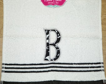 Embroidered Monogram Wash Cloth with Applique