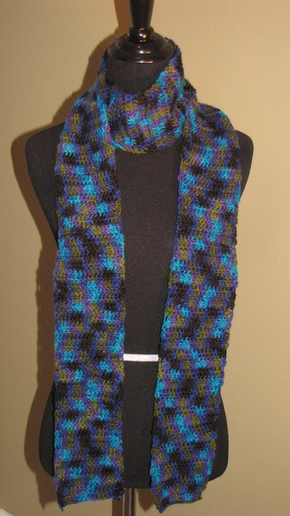 multi colored scarf by ambersknitsensations on etsy