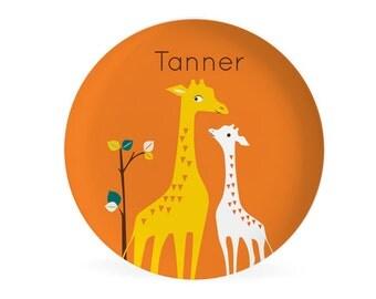 KIDS PLATE, baby gift, toddler gift, Personalized plate,  giraffe, safari, Dish for kids, gift for boys, gift for girls