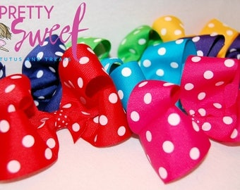 Boutique Polka Dot Hair Bow - 7 Color Choices!!!