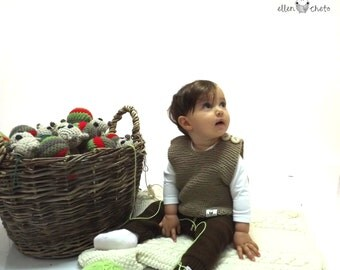 Beige baby vest / Merino baby vest / Knitted merino wool vest