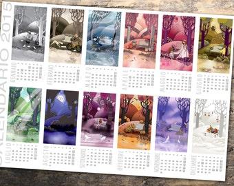 Planner wall calendar shows 12 months 30x42cm