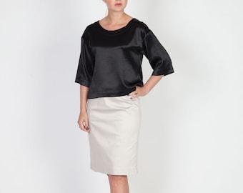 Black Silk Top with 3/4 sleeves