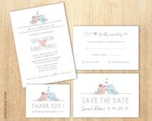 Wedding Invitation Set, Birds Wedding Invitation, Love Birds Wedding Invitation, Blue and Pink Invite, RSVP, Save The Date , Thank You Card
