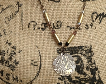 Dragonfly Embossed Necklace - .22 Caliber Bullet Casings