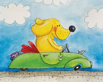 childrens wall art - dog artwork - labrador art - driving with miss daisy