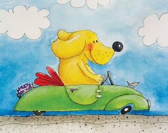 childrens wall art - dog artwork - labrador art - driving with miss daisy