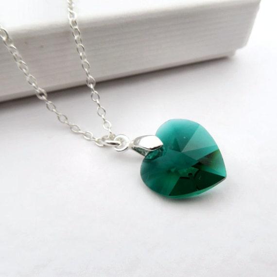 Emerald heart necklace green swarovski elements crystal like this item aloadofball Images