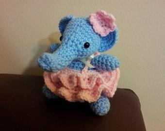 Amigurumi crochet stuffed little elephant with dress