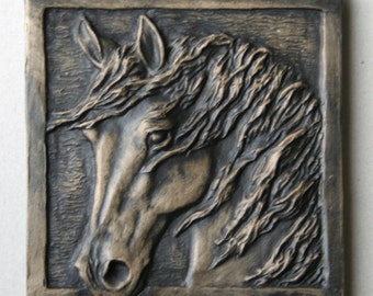 """Hand Made Equine tile 1 Windblown horse head, 4"""" accent wall tile to install or hang/display"""