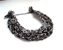 Black White Bib Necklace Braided Jewelry Cotton Choker Statement Unique Hand Made Yarn Necklace Crochet Knitting Yarn Cotton Bib Scarf Women
