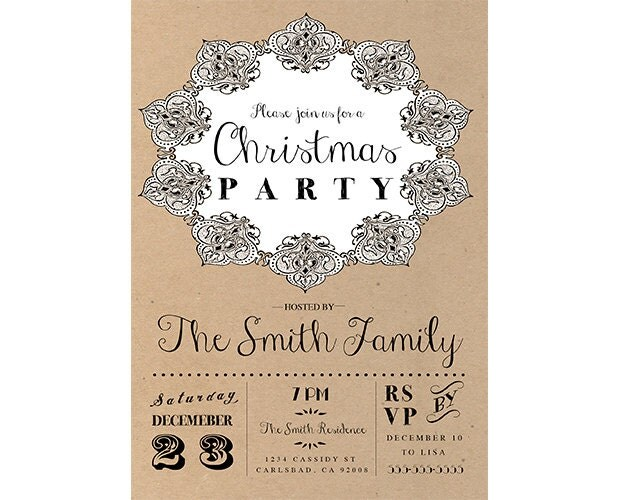 Christmas Party Invitation, Christmas Invite, Holiday Party, Rustic, Boho, Brown Paper, Wreath, Printable