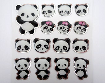 kawaii panda stickers - cute panda emoticon face stickers