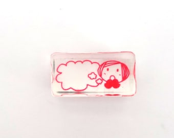 small kawaii girl with thought bubble rubber stamp - cute small stamp