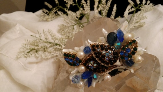 One of a Kind Jeweled Belt Buckle Designed with Shell and Vintage Jewelry