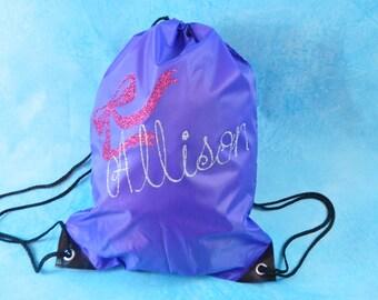 Personalized cheer bag. Purple backpack, cinch sack. Dance bag.