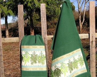 Dark Green Kitchen Towels with Herb Fabric Applique, Kitchen Hand Towel, Dish Towel, Tea Towel, Kitchen Decor, Cotton Towel, FREE SHIPPING!