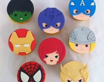 12 Marvel Cupcake Toppers Edible
