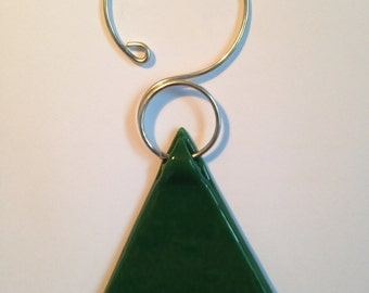 Green fused glass Christmas tree ornament