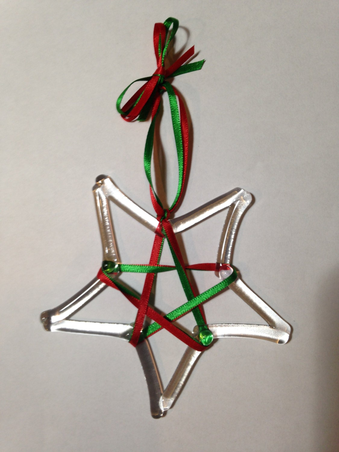 Clear star fused glass christmas ornament with ribbon