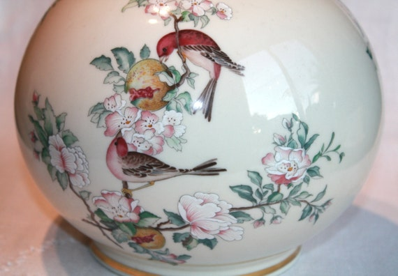 Vintage Lenox Vase Serenade Globe Vase 24k Gold Trim Bird