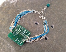 Stackable Circuit Board Bracelet, Blue and Silver Tone multiple chain, Adjustable from 7 to 8 inches, reclaimed upcycled computer parts