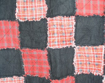 Navy Blue and Red Plaids Rag Quilt