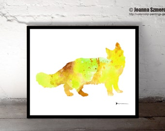 Yellow Cat Print, Custom Pet Silhouette Watercolor Painting, Colorful Cat Pattern Childrens Wall Decor