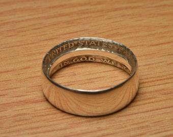 Handmade Silver Half Dollar or Silver Quarter Ring