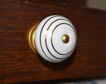 White and Gold Drawer Knobs, Cabinet Knobs,  Furniture Knobs, Gold Drawer Pulls, Gold Cabinet Hardware, White Ceramic Drawer Knobs