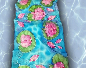 Hand painted silk scarf - Water lilies in pond- flower scarf- water lilies scarves- silk water scarf
