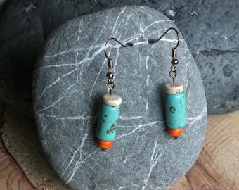 Indian Creek earrings, turquoise earrings, turquoise jewelry, dangle earrings, Southwest jewelry, Southwest earrings, funky earrings, rustic