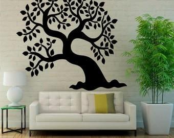 Tree Wall Decal Floral Patterns Interior Wall Vinyl Sticker Nature Art Design Murals (5tr2)