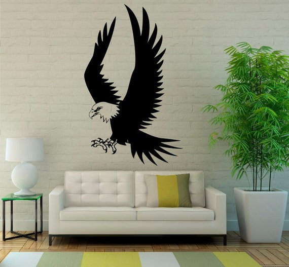 Items similar to eagle wall decal bird of prey vinyl for Eagle wall mural