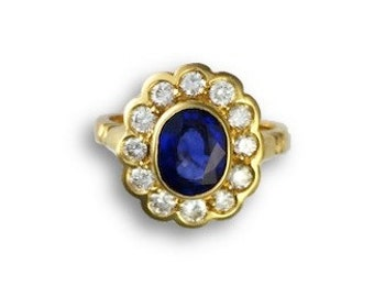 Oval Sapphire & Diamond Floral Ring - September Birthstone - Cocktail Ring - Yellow Gold - Flower Ring