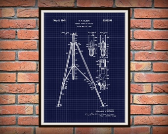 Patent 1941 Camera Tripod - Camera Stand Art Print Designed by Harold Olson - Poster Print - Wall Art - Photographic Equipment - Photography