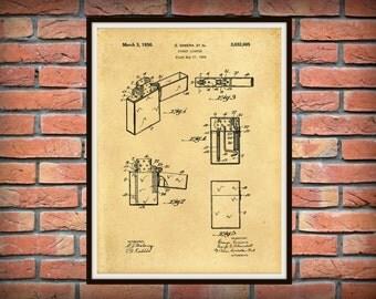 Patent 1936 ZIPPO Pocket Lighter - Art Print - Poster - Wall Art - Cigarette or Cigar Lighter - Military Lighter - Tobacco Star Wall Art
