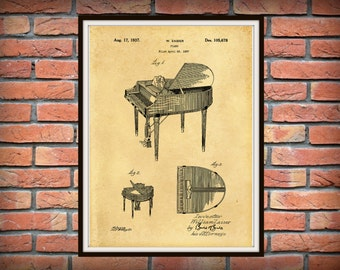 Patent 1937 Wurlitzer Piano - Grand Piano - Music Art Print - Poster - Wall Art - Musical Instrument - School Art - Orchestra Wall Art