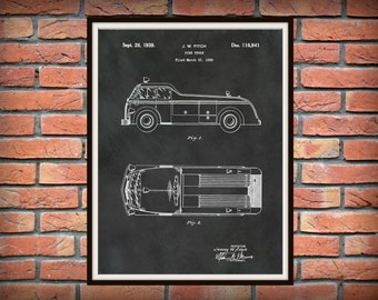 Patent 1939 Fire Truck Art Print or Poster - Wall Art -  Firemen - Fire Man - Fire House Art Drawing Illustration