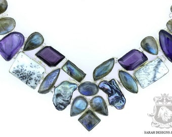 Final Sale! Dendritic Agate Abalone Pearl Labradorite Amethyst 925 SOLID Sterling Silver Necklace